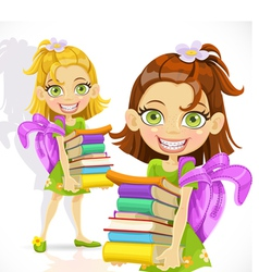 schoolgirl with a stack of books vector image vector image