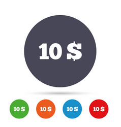 10 dollars sign icon usd currency symbol vector image