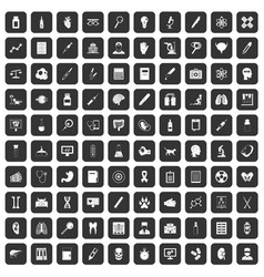 100 diagnostic icons set black vector image