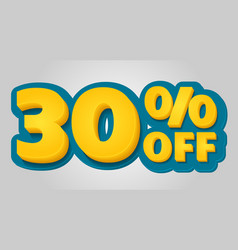 30 off discount banner special offer sale tag in vector image