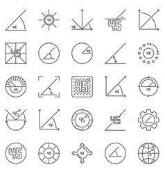 45 degrees angle outline icons set vector
