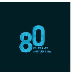 80 year anniversary aqua color template design vector