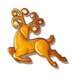 A gold figure of a galloping reindeer isolated on vector