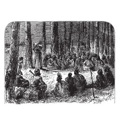 A jesuit missionary preaching to the indians vector