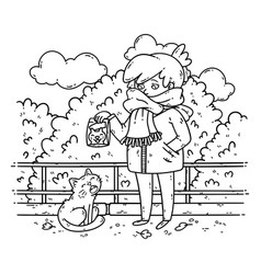 a young woman is planning to feed a stray cat vector image