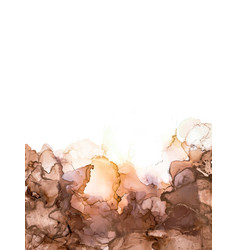 Abstract black brown and gold alcohol ink paint vector
