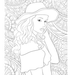 adult coloring bookpage a cute girl wearing a hat vector image