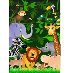animal cartoon in jungle vector image
