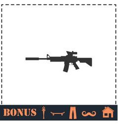 Assault carbine icon flat vector