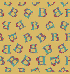 B from alfabet repeat pattern print background vector