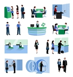 Bank people set vector