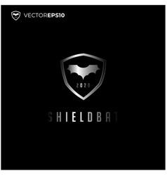 bat icon with shield badge emblem logo design vector image