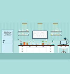 Biology science lab interior or laboratory room vector
