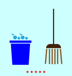 Bucket and broom set it is color icon vector