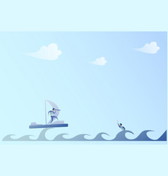 business man sailing on boat looking with vector image