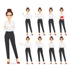 Businesswoman character set vector