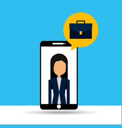 businesswoman in smartphone with speech bubble vector image