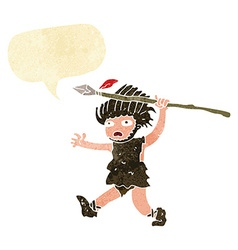 Cartoon caveman with speech bubble vector