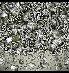 Cartoon doodles cafe coffee shop border vector