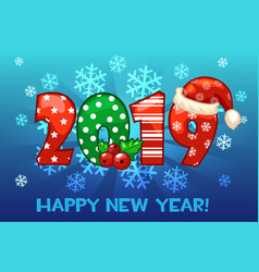 cartoon greeting banner in year 2019 on snow vector image