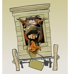 Cartoon neighing horse sitting in a wooden cart vector