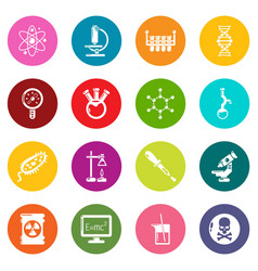 chemistry laboratory icons set colorful circles vector image