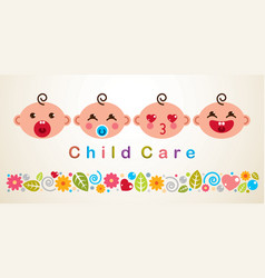 childcare with babies showing different emotions vector image