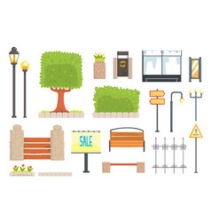 Cityscape constructor elements set in cute cartoon vector