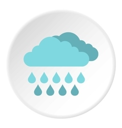 Clouds and rain icon flat style vector