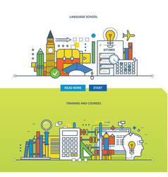 concept - school language training and courses vector image