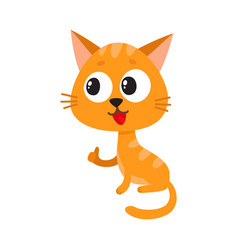 Cute and funny red cat character sitting and vector