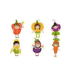 cute little kids dressed as vegetables set pepper vector image