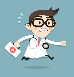 doctor tiny character running with first aid box vector image
