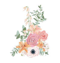 Drawing flowers composition vector
