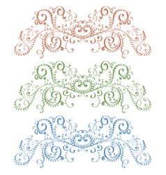 floral ornaments colored vintage decorations vector image