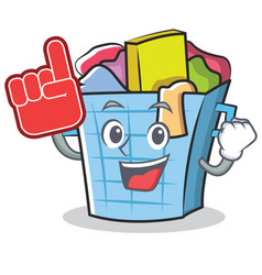 foam finger laundry basket character cartoon vector image