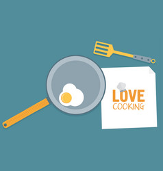 Fried egg on pan in kitchen conceptual vector