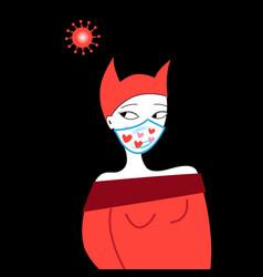 girl in a virus mask vector image