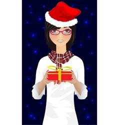 girl with christmas gift vector image