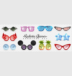 glasses carnival transparent set vector image