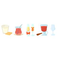 glasses icon set cartoon style vector image