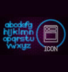 Glowing neon line kitchen dishwasher machine icon vector