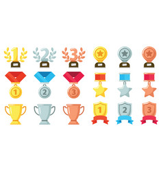 Gold silver bronze achievement or awards medals vector