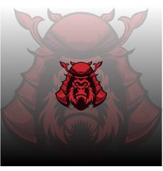 gorilla samurai mascot logo vector image