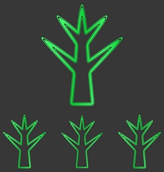 Green line plant logo design set vector