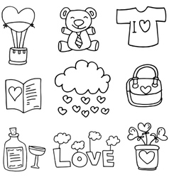 Hand draw love theme of doodles vector