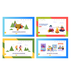 healthy food and camping people website landing vector image