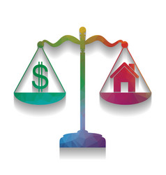 House and dollar symbol on scales vector