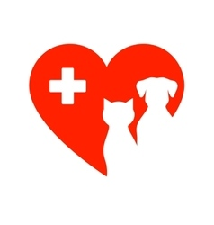 Icon with pet heart and cross vector