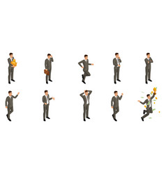 Isometric man with emotions 3d businessman vector
